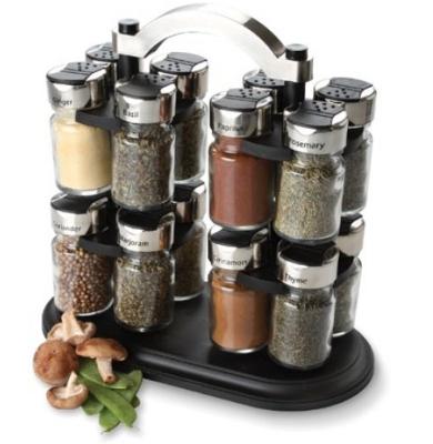 Olde Thompson 25 677 16 Jar Twin Carousel Spice Rack W
