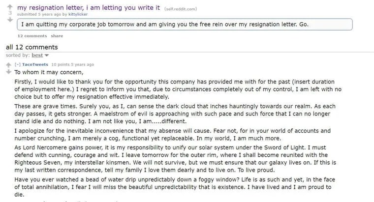 These Resignation Letters Say \u0027I Quit\u0027 In Hilarious Ways