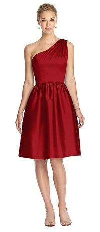 Garnet One Shoulder Bridesmaid Dresses | The Dessy Group