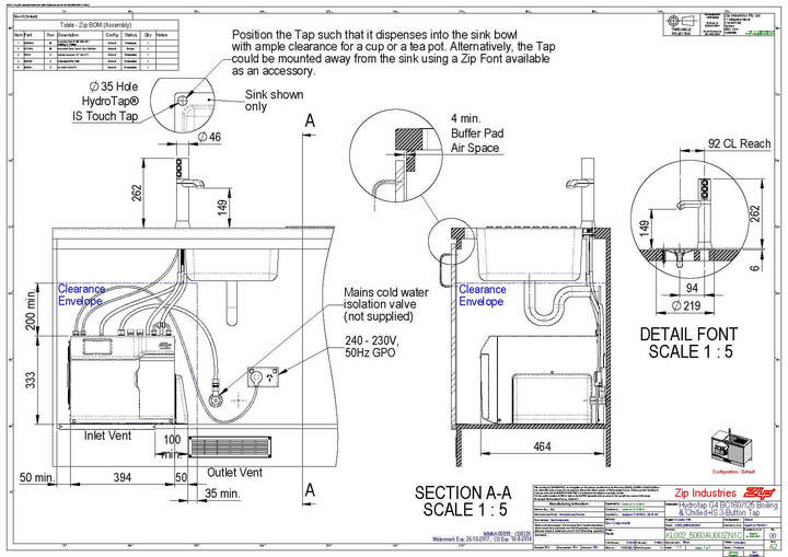 Zip HydroTap Industrial Side Touch ISS BC 160/125 Zip Water
