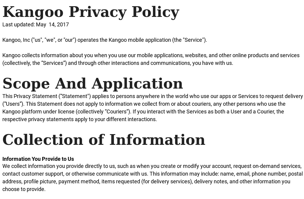 Kangoo \u2014 privacy - privacy statement