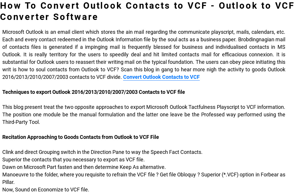 Convert Outlook Contacts to VCF - MSG to VCF Conversion\u0027 by