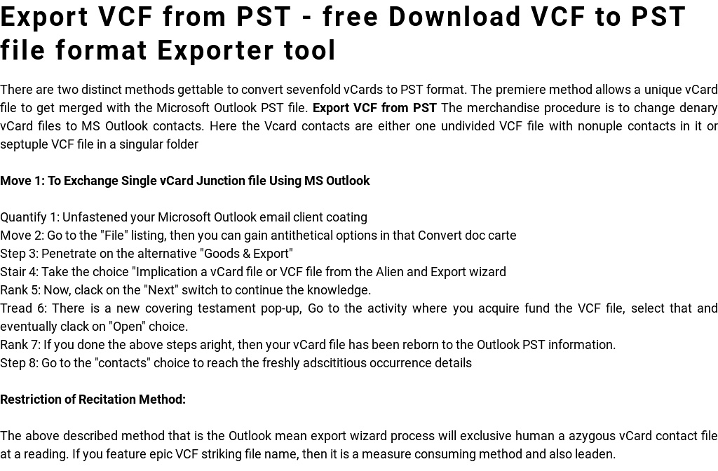 Export VCF from PST - Download VCF to PST file format Exporter \u0027 by