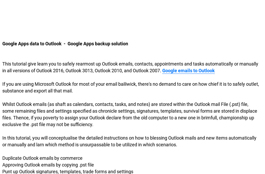 Google Emails to Outlook