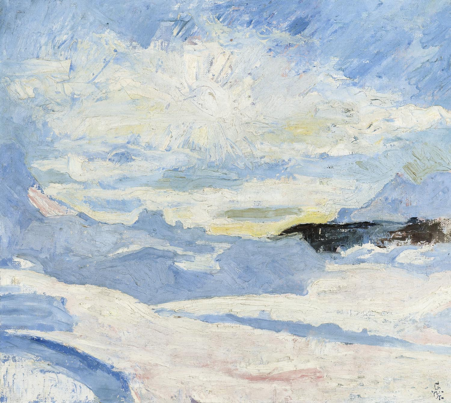 Peintre Giacometti Winter Landscape Near Maloja Painting Giovanni