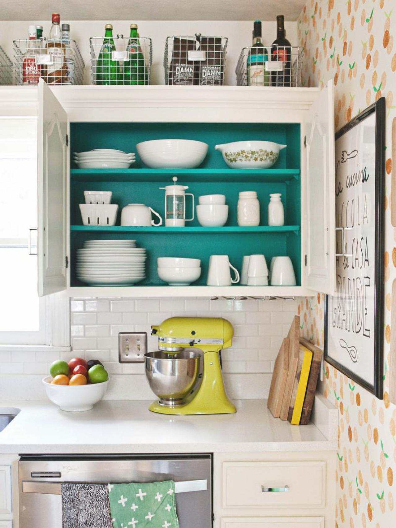 6 decorating ideas for above kitchen cabinets open kitchen cabinets Metal Baskets