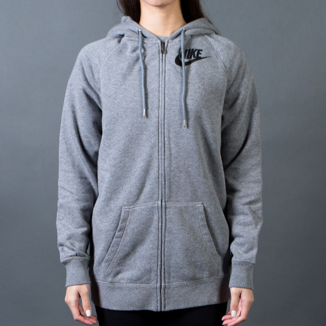 Nike Hoodie Carbon Heather Nike Women Rally Boyfriend Full Zip Hoodie Grey Carbon Heather Cool Grey Black