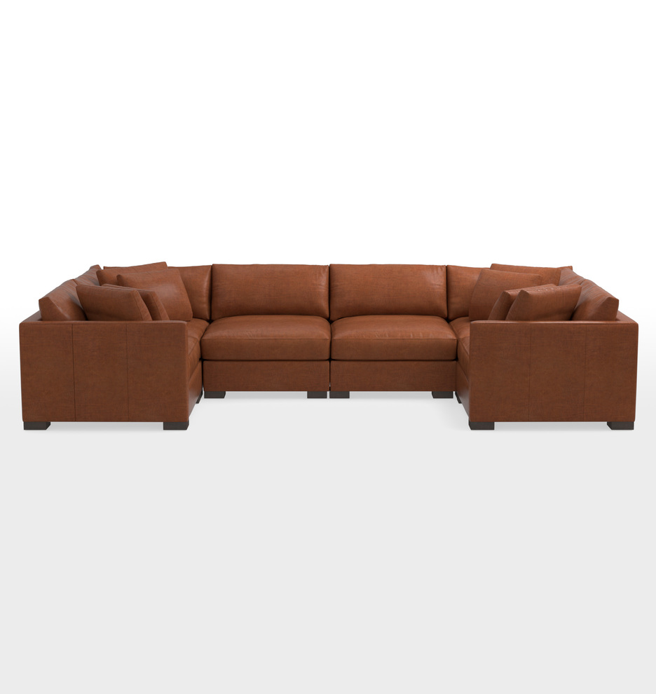 U Sofa Wrenton 6 Piece U Shape Leather Sectional Sofa