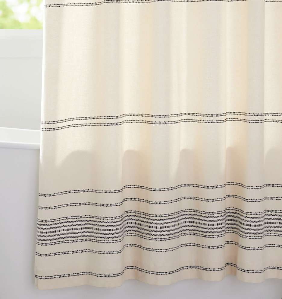 Linen Stripe Shower Curtain Ivory Black Woven Striped Shower Curtain