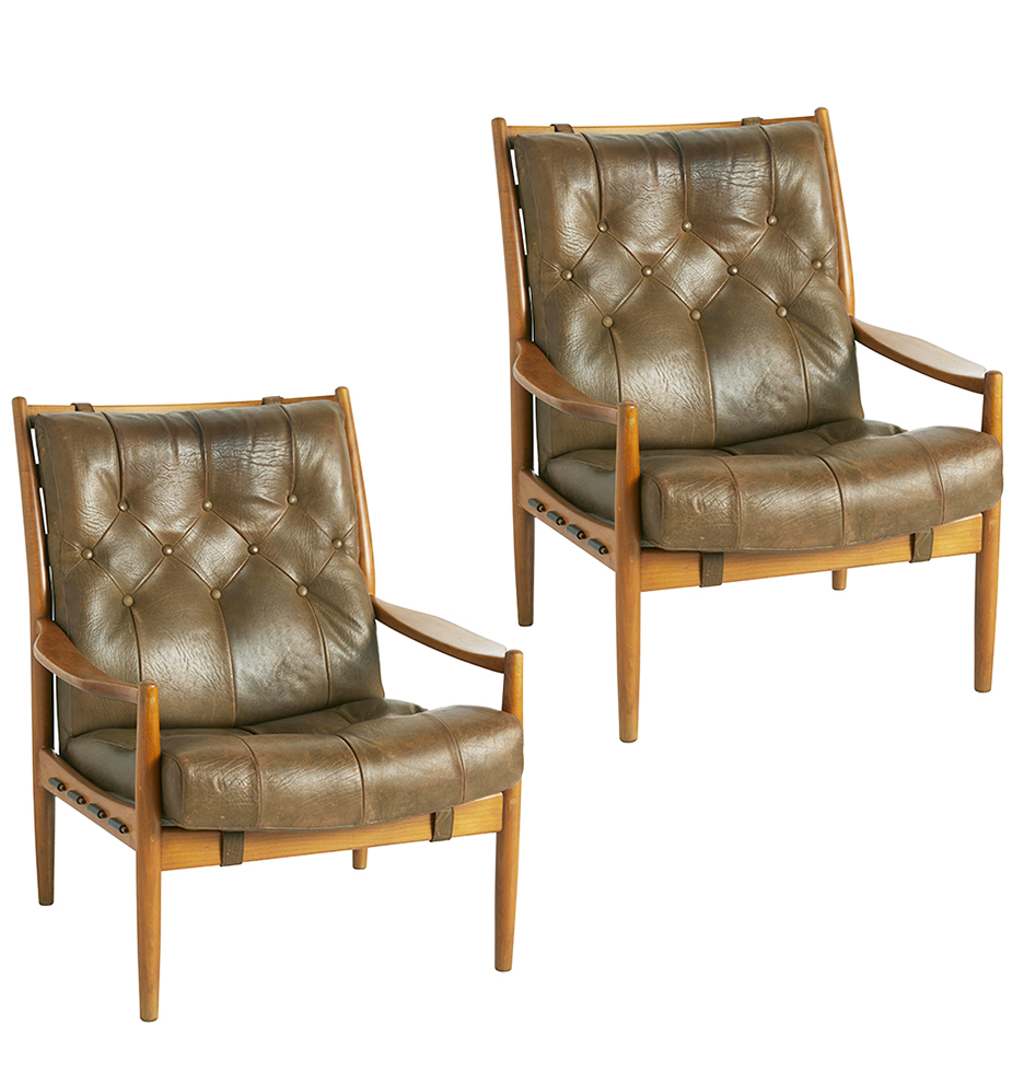 Leather Lounge Pair Of Danish Modern Leather Lounge Chairs