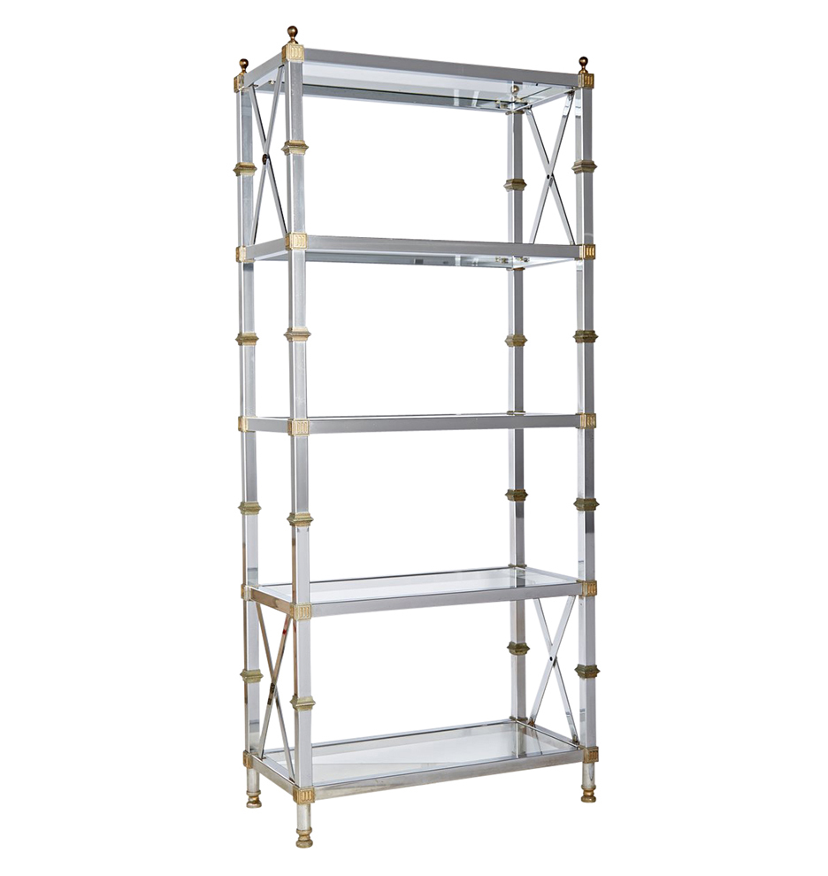 Etagere Metal Tall Polished Brass And Nickel Plated Etagere
