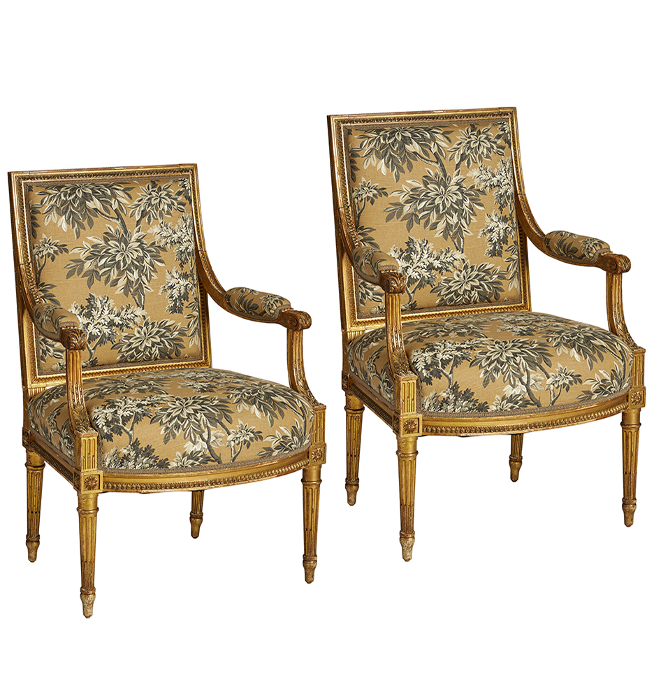 Fauteuils Toile Pair Of Giltwood Louis Xvi Fauteuil Armchairs W Botanical Toile