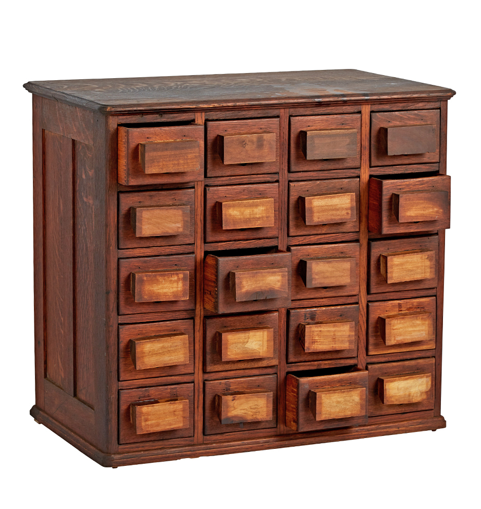 Cabinet Drawers Twenty Drawer Parts Cabinet W Chunky Wooden Handles