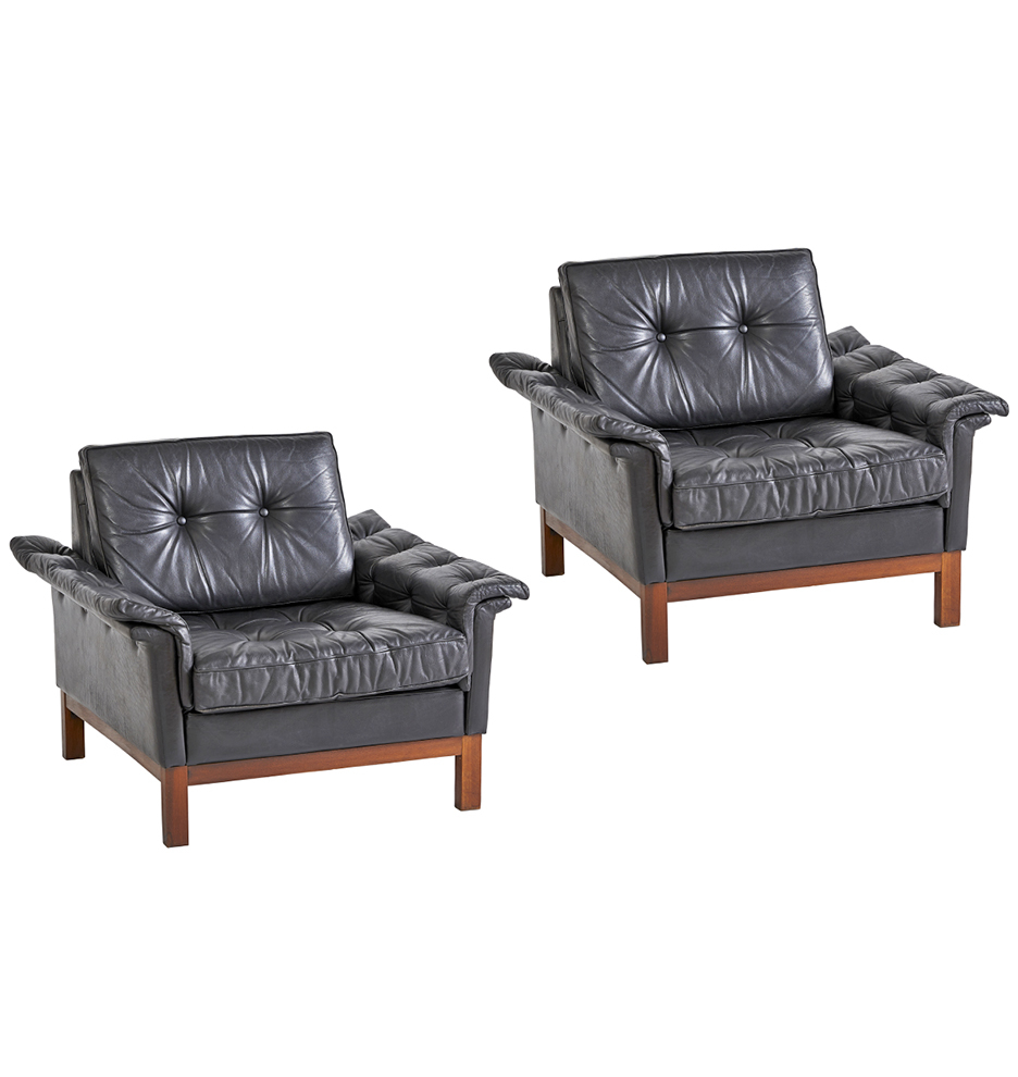 Ikea Black Chair Pair Of Rare Ikea Modern Lounge Chairs In Black Leather