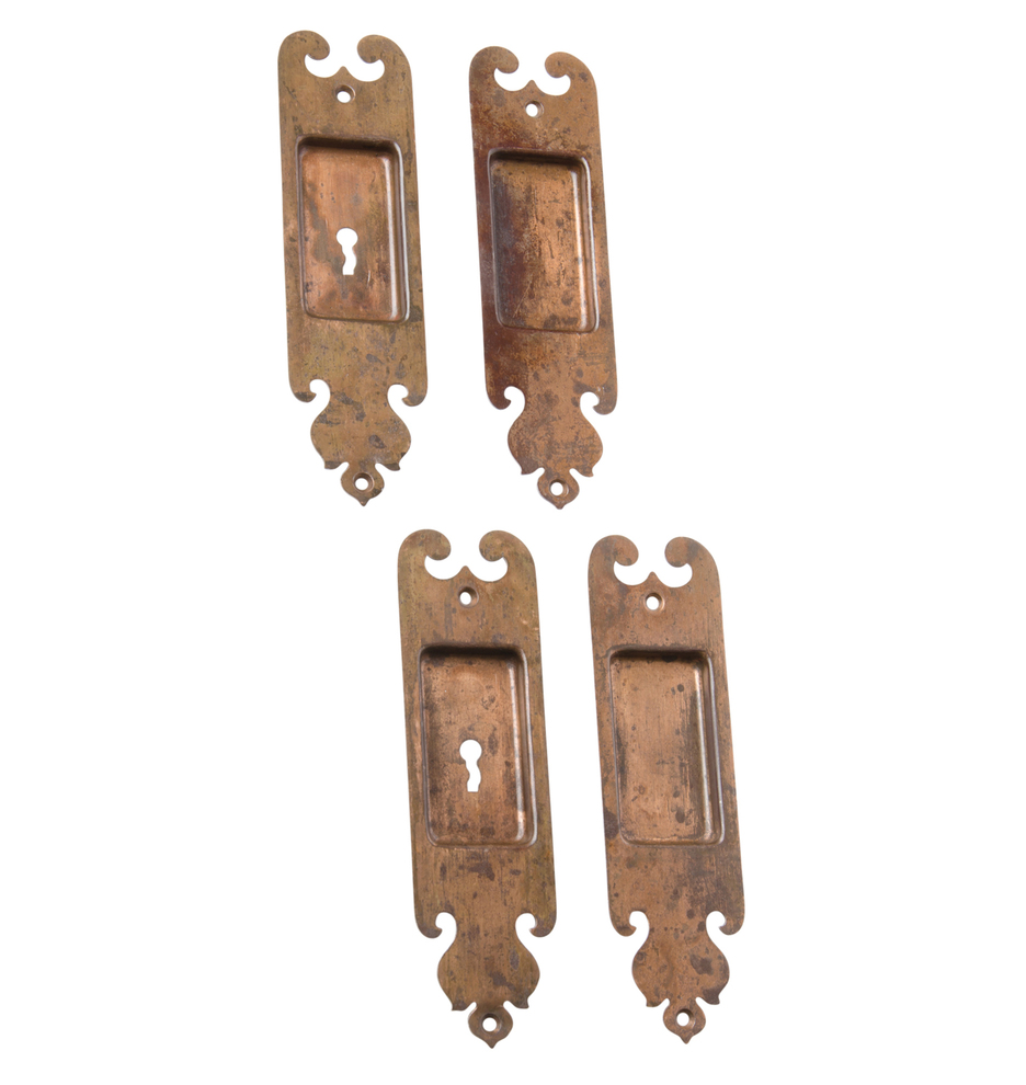 Door Pulls Set Of Romanesque Wrought Brass Pocket Door Pulls