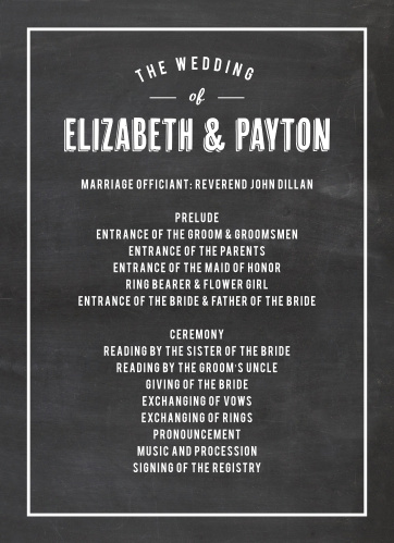 Chalkboard Wedding Invitations - Match Your Color  Style Free!