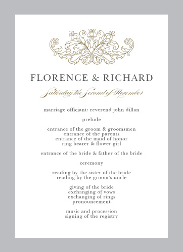 Damask Programs Wedding - Match Your Color  Style Free!