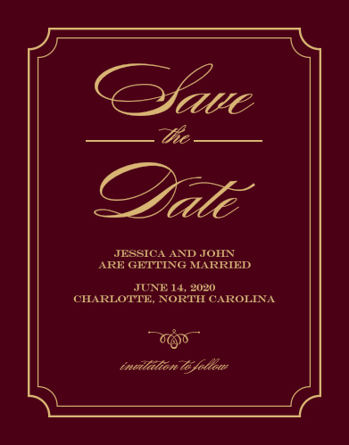 Foil Stamped Save The Date Cards Gold, Silver  Rose Gold Basic