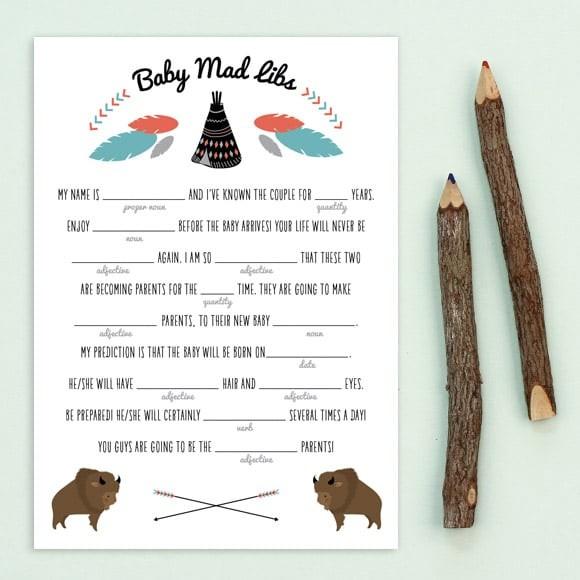Teepee Mad Libs Printable by Basic Invite
