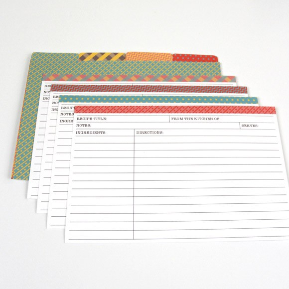 Matching 2 Recipe Cards with Dividers Printable by Basic Invite