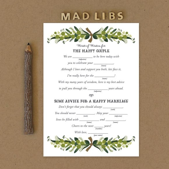 Romantic Wreath Mad Libs by Basic Invite