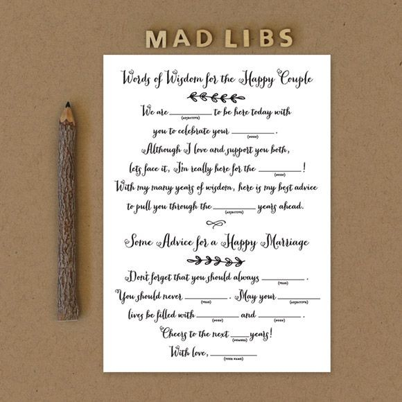 Wedding Mad Libs for Engagement Party, Bridal Shower and Bachelorette