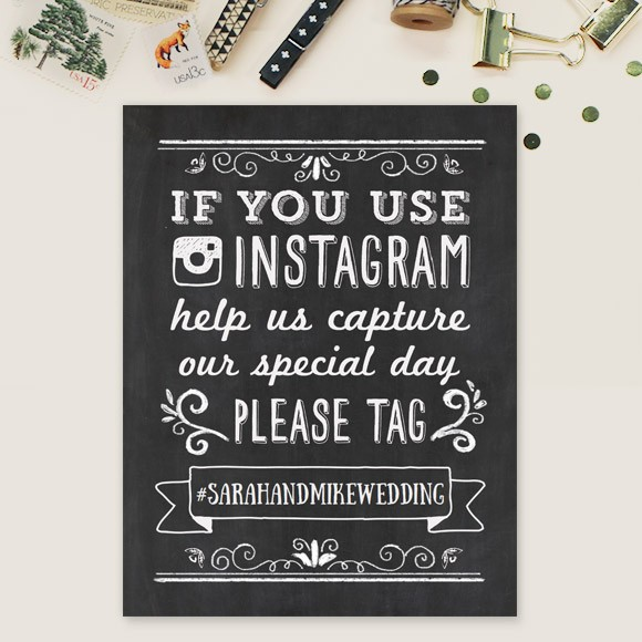 Wedding Instagram Hashtags Signs, Printable Template