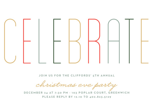 Holiday Party Invitations Match Your Color  Style Free! - Basic - cocktail party invitations