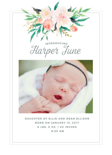 Baby Girl Birth Announcements Photo and No Photo Announcements - Birth Of Baby Girl