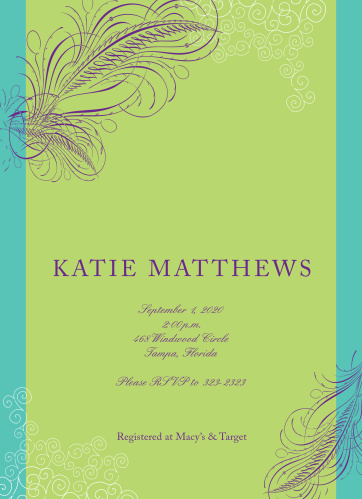 Peacock Bridal Shower Invitations - Match Your Color  Style Free!