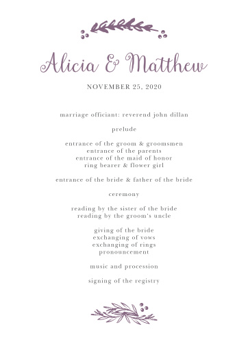 Wedding Programs Match Your Colors  Style Free! - Basic Invite - wedding program
