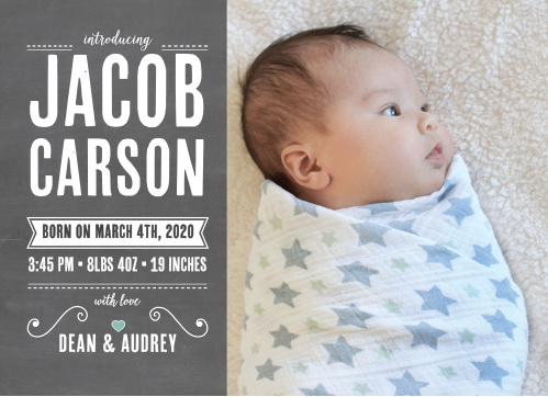 Ribbon Birth Announcements - Match Your Color  Style Free!