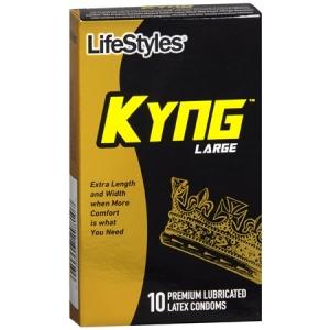 LifeStyles Kyng Premium Lubricated Latex Condoms, Large- 10ct