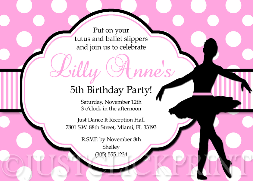 Ballet Pink and Black Ballerina Dancer Girl Birthday Party - girl birthday party invitations