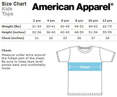 american apparel sizing chart - Heartimpulsar