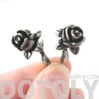 Rose Flower Shaped Fake Gauge Plug Stud Earrings in Silver ...