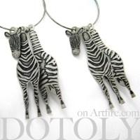 3D Big Zebra Animal Hoop Dangle Earrings in Silver ...