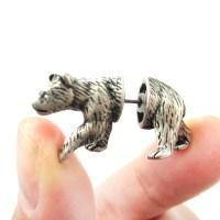 Unique Fake Gauge Realistic 3D Bear Animal Stud Earrings ...