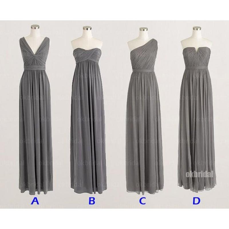grey bridesmaid dresses, mismatched bridesmaid dresses
