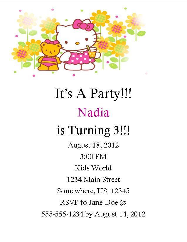 Hello Kitty Birthday Invitation 1 · Southern Desktop Publishing