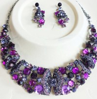 Purple Crystal Necklace & Earrings  Two Angel Designs ...