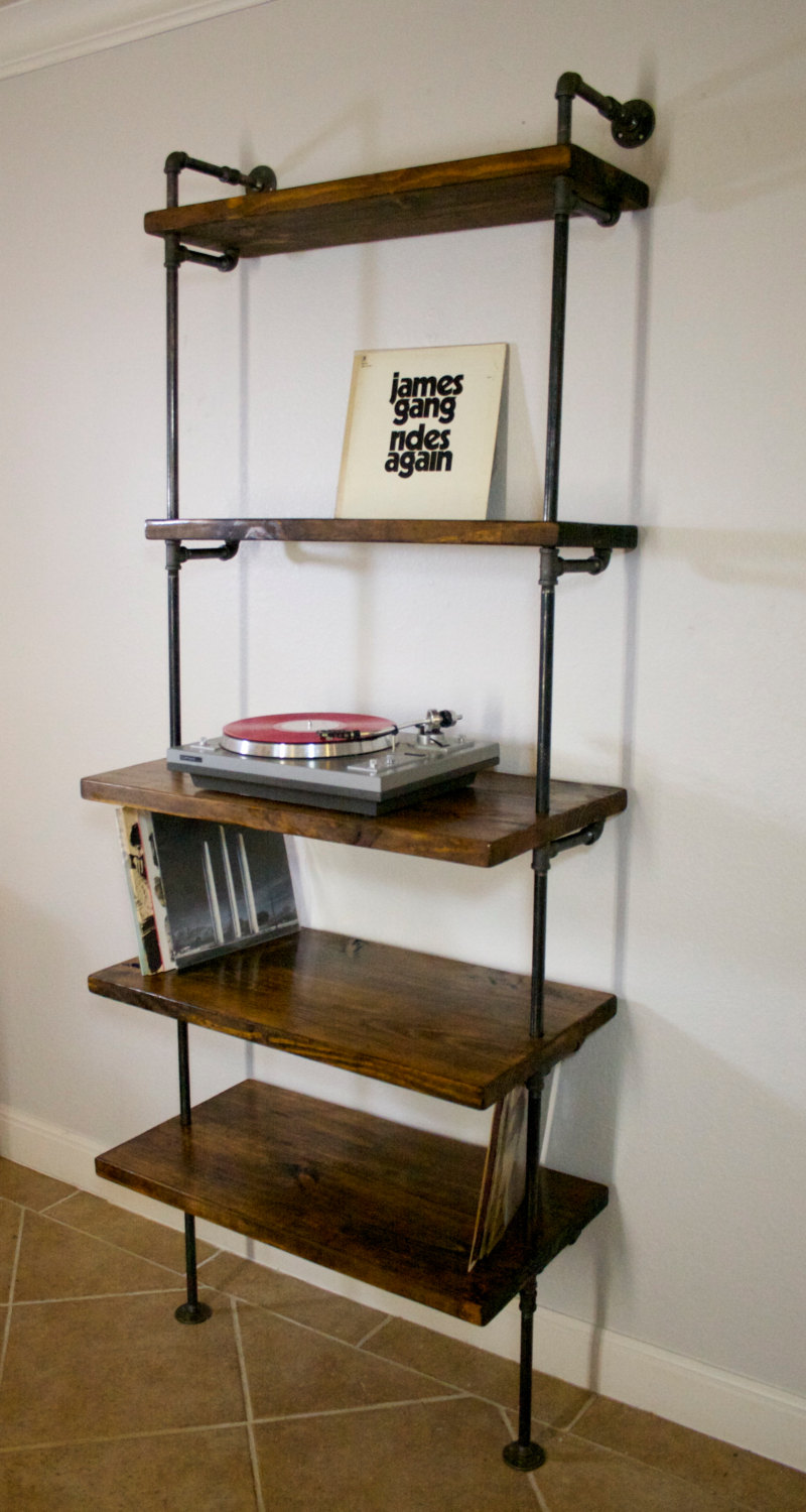 Design Boekenplank Industrial Record Shelving Unit Bookcase- Modern Record