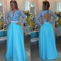 Floor-length Sky Blue Prom Dresses, Long Sleeve Lace Prom ...