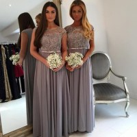 Cap sleeve bridesmaid dress, grey bridesmaid dress, long