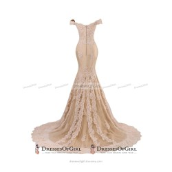 Wonderful Off Shoulder Fit Flare Prom Dress Bead Lace Appliques Long Prom Dress Champagne Tulle Sweep Train Prom Dress 020102677 1 Original Off Shoulder Prom Dresses Pinterest Off Shoulder Prom Dresse