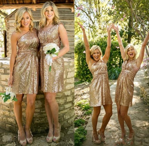Medium Of Gold Sequin Bridesmaid Dresses