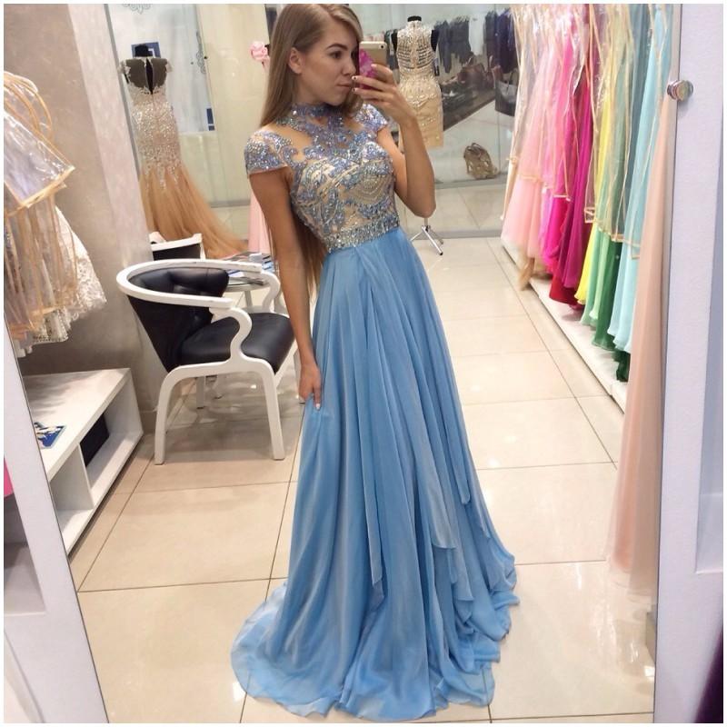 Simple Elegant Long Prom Dress Short Sleeve Lace Beaded Bodice 2017