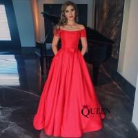 Elegant Red Satin A-Line Off-The-Shoulder Long Prom Dress ...