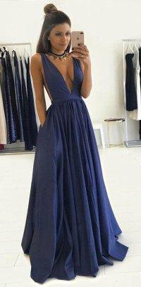 Deep V Neckline Sexy Prom Dress, Graduation Party Dresses ...