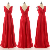 Beautiful Long Bridesmaid Dresses, Red Chiffon Bridesmaid